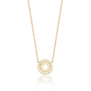 Golden sun disc necklace