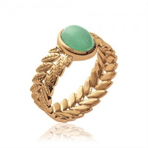 Bague pl-or 750 5mic aventurine