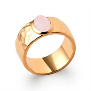 Bague pl-or 750 5mic quartz rose
