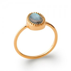 Bague pl-or 750 5mic labradorite