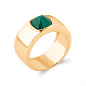 Bague pl-or 750 5mic malachite