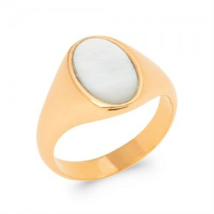 Bague pl-or 750 5mic nacre