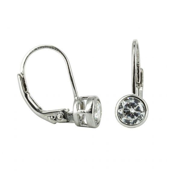 Bijou en argent - Earrings round white zirconia