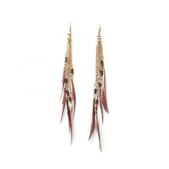 Boucles d'oreilles plumes longues multiples