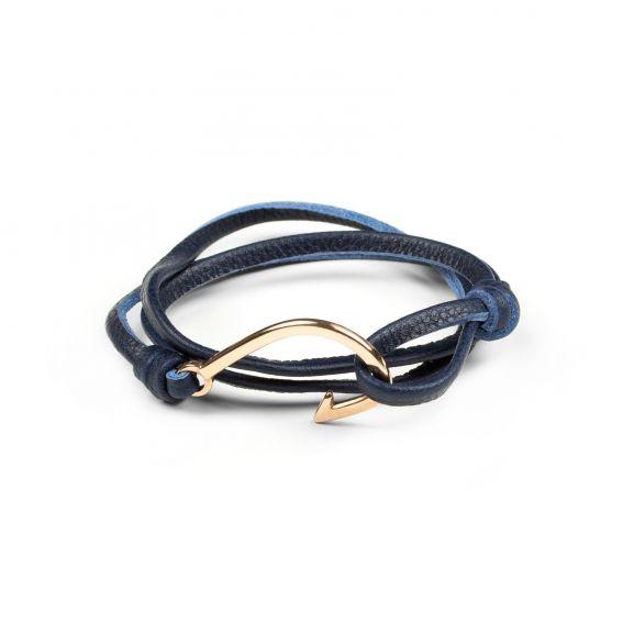 Bracelet hameçon rosé et cuir bleu marine
