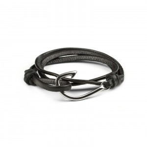 Bijou en argent - Black leather strap hook
