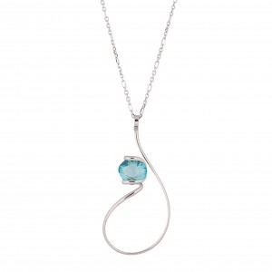 oval Swarovski mint crystal necklace
