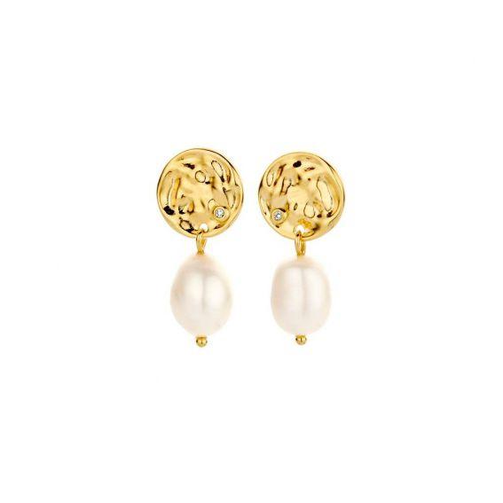 Boucles d'oreilles Coco - 2 diamants et 2 perles d'eau douce