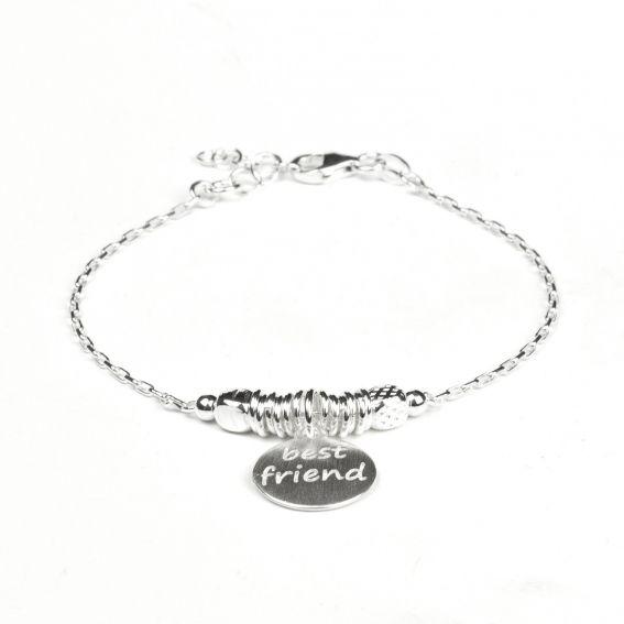 Bracelet en argent 925 pastille Best friend - Bijoux en argent