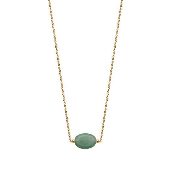 Collier pl-or 750 3mic quartzite vert