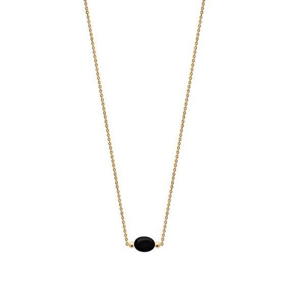 Collier pl-or 750 3mic obsidienne noire