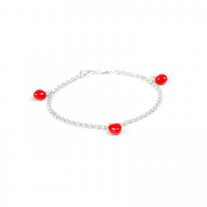 Bijou en argent - 3 bright red hearts