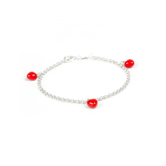 Bracelet 3 coeurs rouges vifs en argent 925 - Bijoux en argent