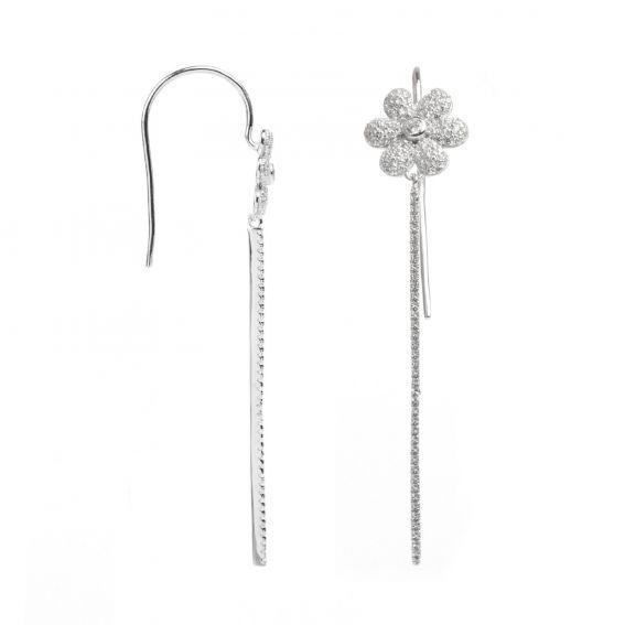Boucles d'oreilles fleur strass - Bijoux en argent