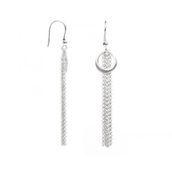 Boucles d'oreilles 5 chaînes sur cercle brossé - Bijoux en argent