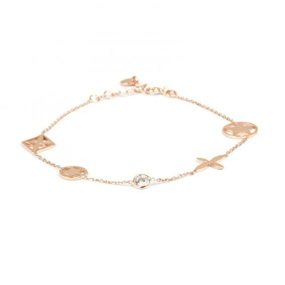 Bracelet zircon central, étoiles, inspiration Louis Vitton rosé en argent 925