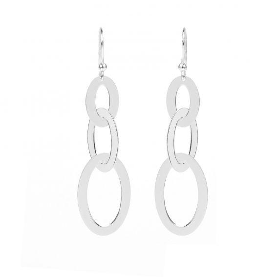 Boucles d'oreilles 3 anneaux ovales en argent 925 - Bijoux en argent
