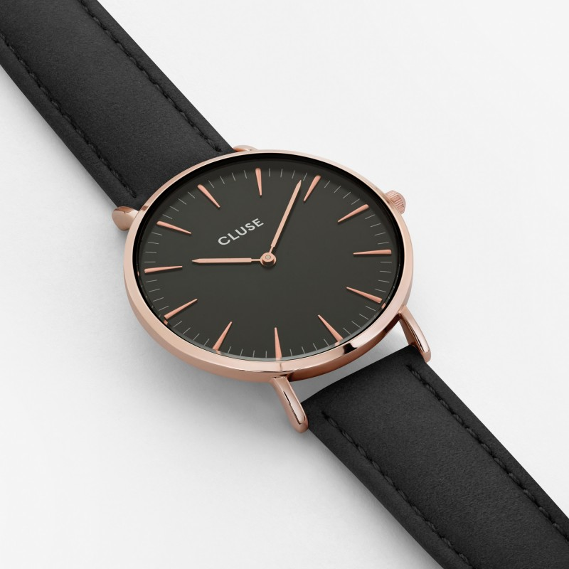 montre cluse la boh me rose gold black black bracelet. Black Bedroom Furniture Sets. Home Design Ideas