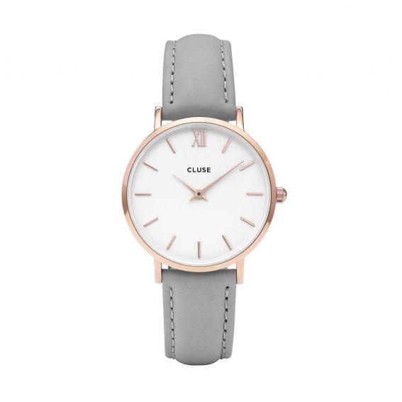 Montre CLUSE - La minuit rose gold white/black - Bracelet cuir gris