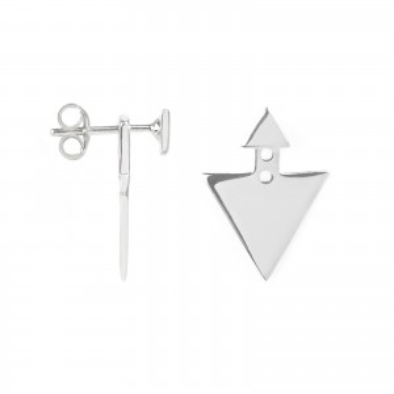 Boucles d'oreilles triangle sous lobe en argent 925 - Bijoux en argent