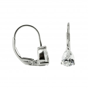 Bijou en argent - Zirconia Earrings drop white