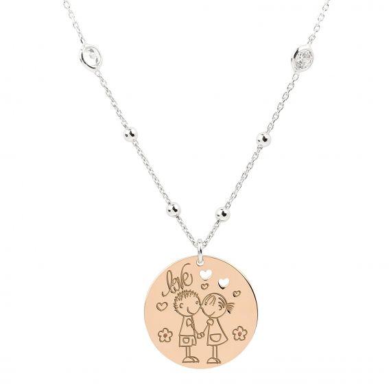 Collier plaque Love, coeurs avec enfants en argent 925 - Bijoux femme en argent