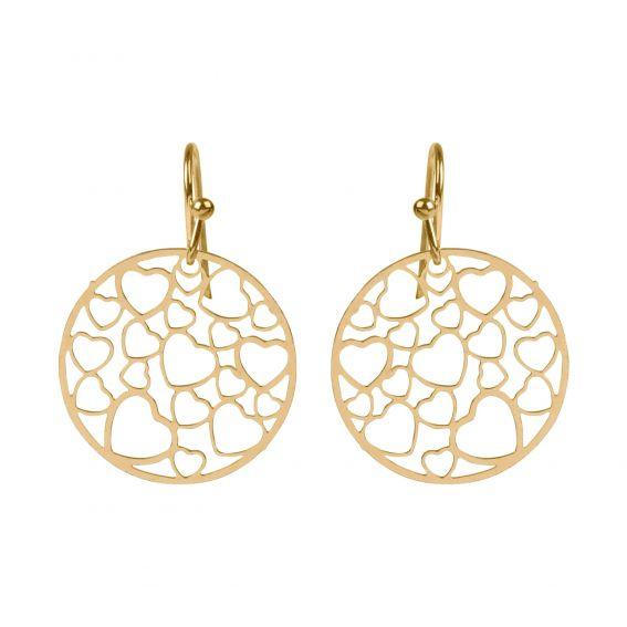 Coeurs dorés en acier - Boucles d'oreilles en acier - Bijoux femme