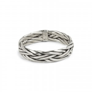 Bijou en argent - braided double ring 925