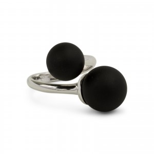Bijou en argent - Double black ball ring