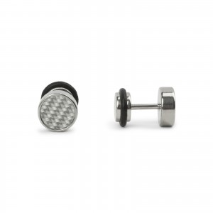 Bijou en argent - Fake plug 8mm silver checkered retractor