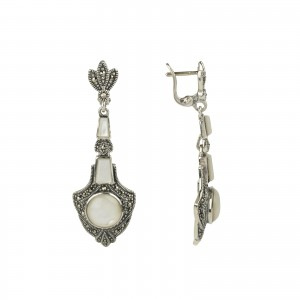 Bijou en argent - Earrings pearl and marcasite silver 925