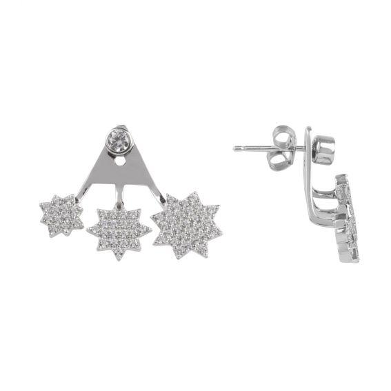 Boucles d'oreilles sous-lobe 3 étoiles et pierres - Bijoux en argent