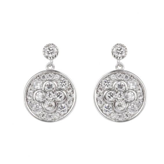 Boucles d'oreilles fleur ronde et pierres - Bijoux en argent