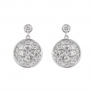 Bijou en argent - Earrings round flower and stones