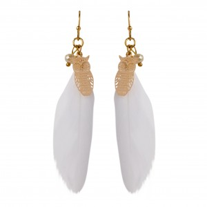 Bijou en argent - White feather and owl