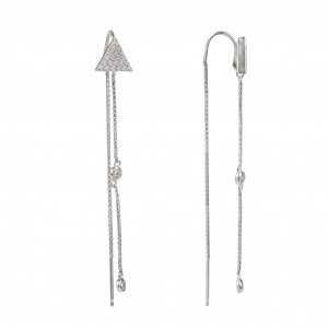Bijou en argent - triangle earrings with stones and chain