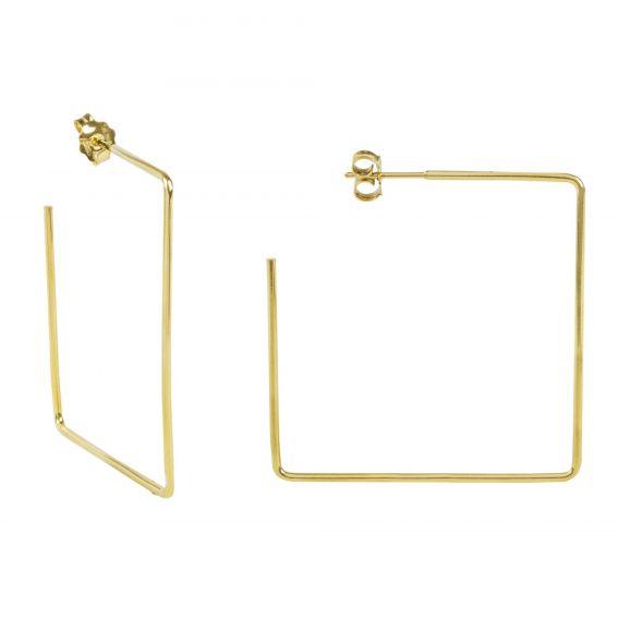 Perceuses grand carré doré - Bijoux en argent 925