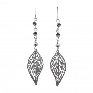 - Earrings anthracite leaves