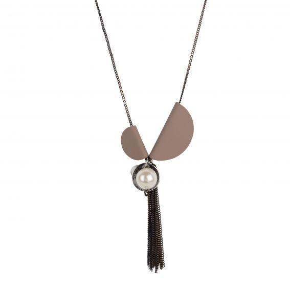 Collier 2 demi-sphères taupe - Bijou et collier femme