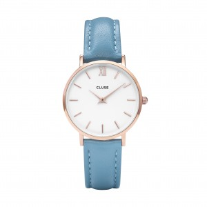 Montre CLUSE - La bohème rose gold white - Bracelet cuir retro blue