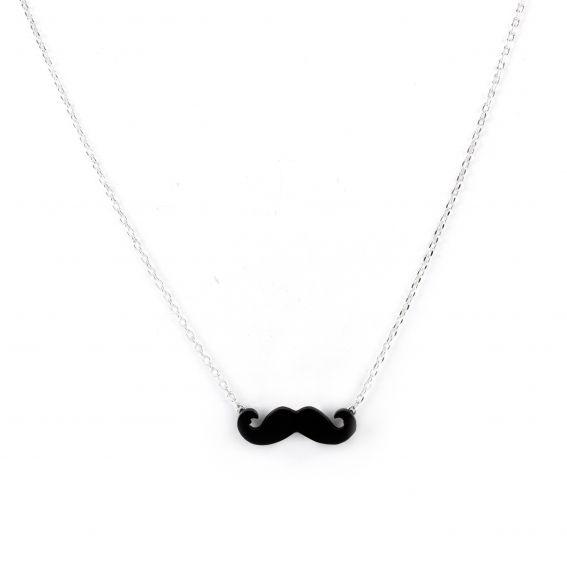 Collier 7bis moustache argenté - Collier de la marque 7bis