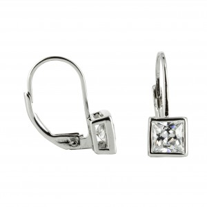 Bijou en argent - Earrings white square zircon