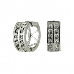 Bijou en argent - Hoop white zircon hinges double rail