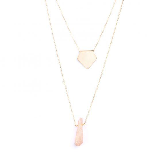 Collier de la marque 7bis multi-rangs pentagone et pierre - Bijoux 7bis